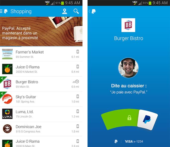Impression écran application Pay@Table