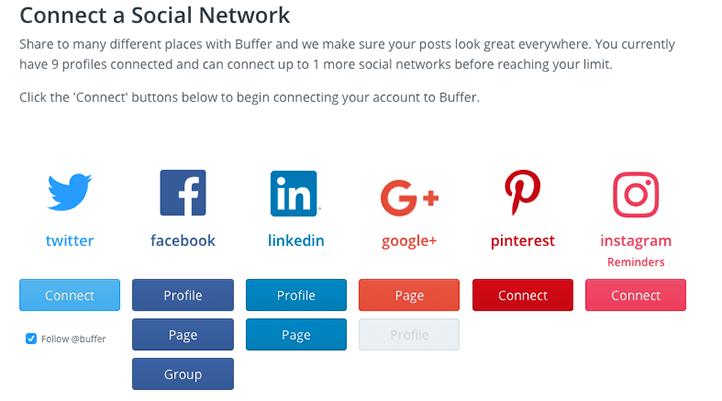 Ajouter ses différents profils sociaux sur Buffer