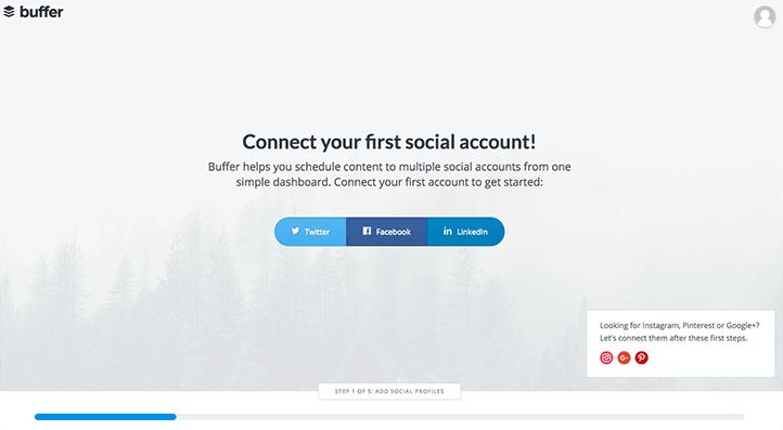 Buffer, connection des profils sociaux