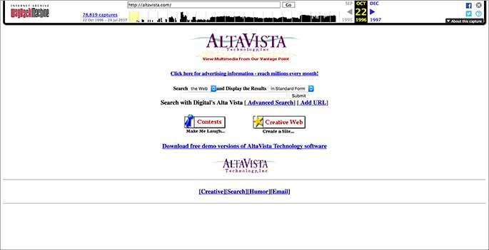 Capture du moteur de recherche Altavista en 1996