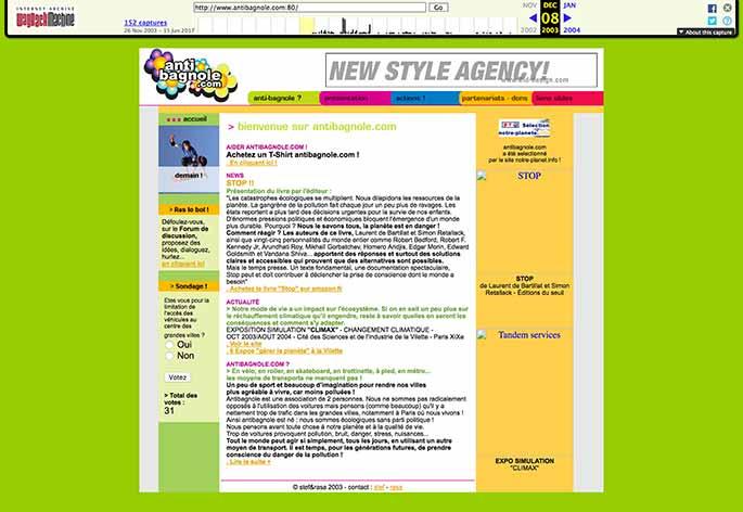 Capture du site web Antibagnole.com le 8 décembre 2003