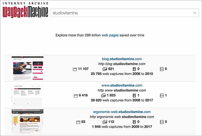 Capure web du site studio Vitamine par Web Archive