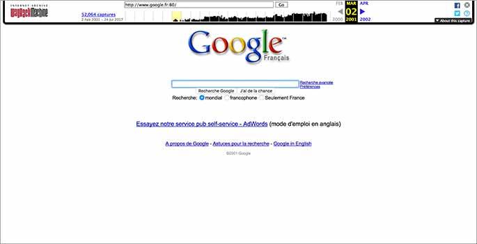 Capture de la page Google.fr en mars 2001
