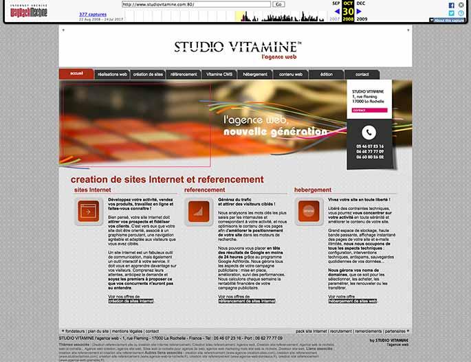 Capture Web du site Studio Vitamine le 30 octobre 2008