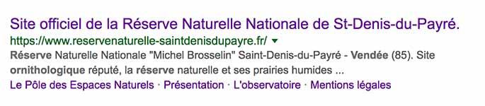Sitelinks dégradé Réserve naturelle de Saint-Denis-du-Payré