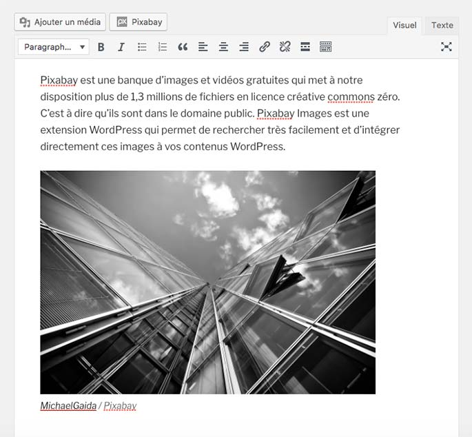 Extension WordPress Pixabay Images